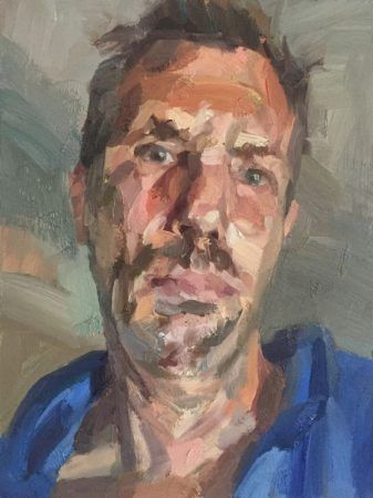 Self portrait with blue hoodie oil on board 16x12 1